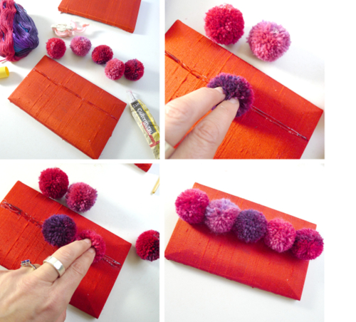 Squeeze A Thin Line Of Strong Fabric Glue Along The Purse Then Press On Central Pompom Continue To Lay Pompoms Either Side Until Is