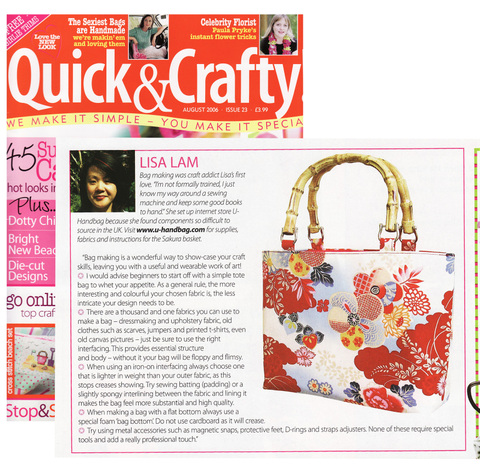 Quick Crafty Mag Aug 06 This Uk Funky Craft Focuses On The Newest Trends Do You Recognize Basket Style Bag Like I Ve Said Before